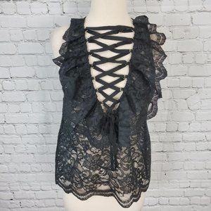 Endless Rose Black Lace top S NEW